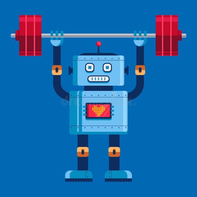 Le robot mignon soul?ve le barbell dans la pleine croissance illustration de vecteur