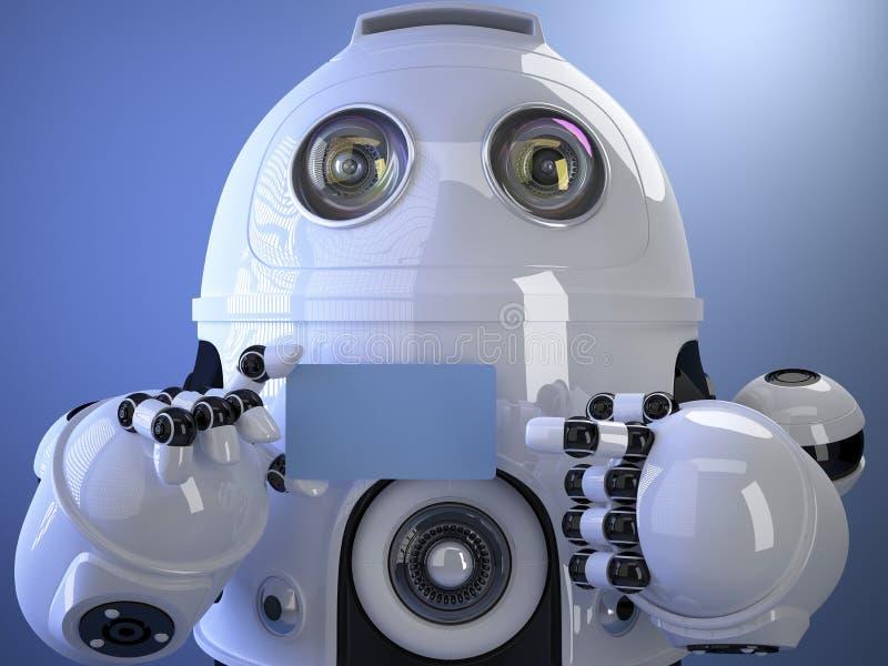 Le robot montre une carte de visite professionnelle de visite Contient le chemin de coupure du Sc entier illustration stock