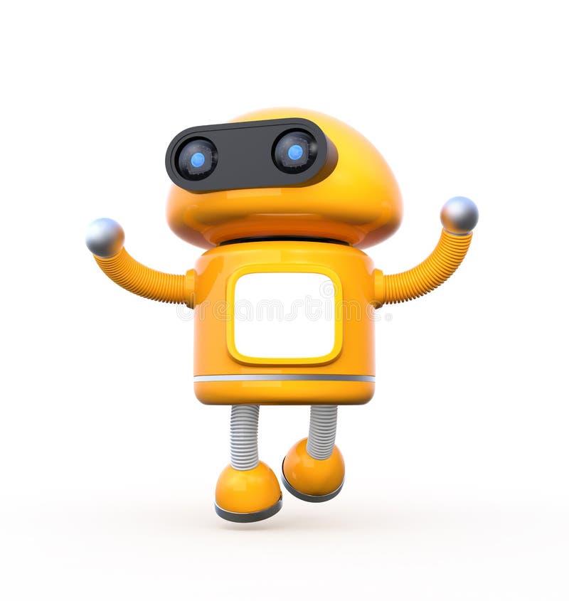 Le robot orange mignon avec le moniteur vide danse sur le fond blanc illustration de vecteur