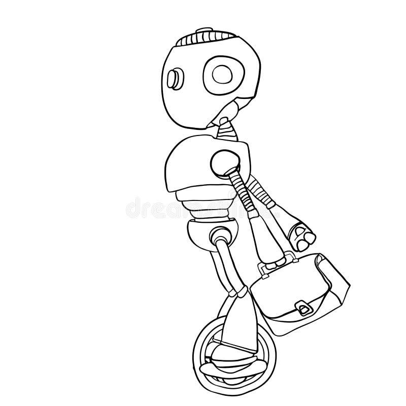 Le robot se dépêche pour fonctionner avec un sac dans sa main illustration libre de droits