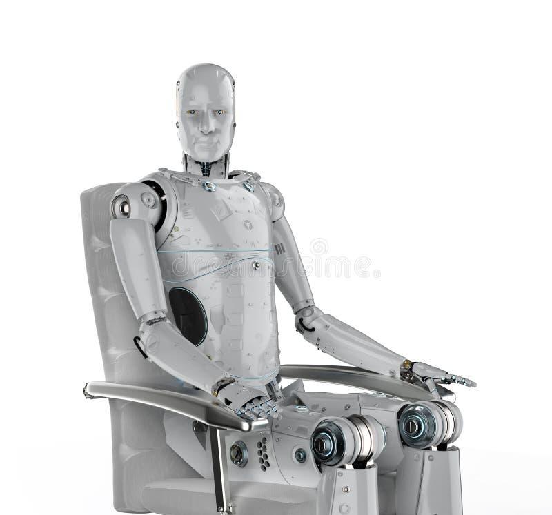 Le robot se reposent sur la chaise illustration stock
