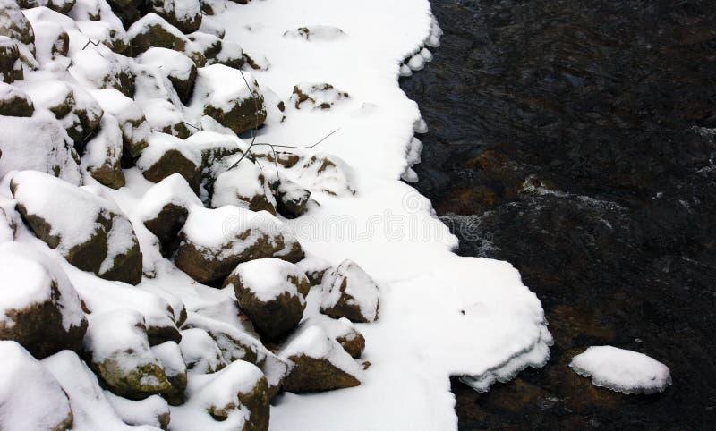Le rocce coperte di neve in fiume freddo dopo l'inverno infuriano fotografia stock libera da diritti