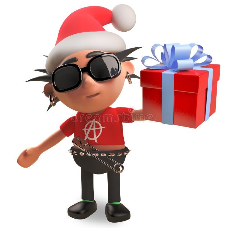 Le rocker punk avec des cheveux de spikey utilisant un chapeau de Santa de Noël et tenant un cadeau a enveloppé actuel avec l'arc illustration libre de droits