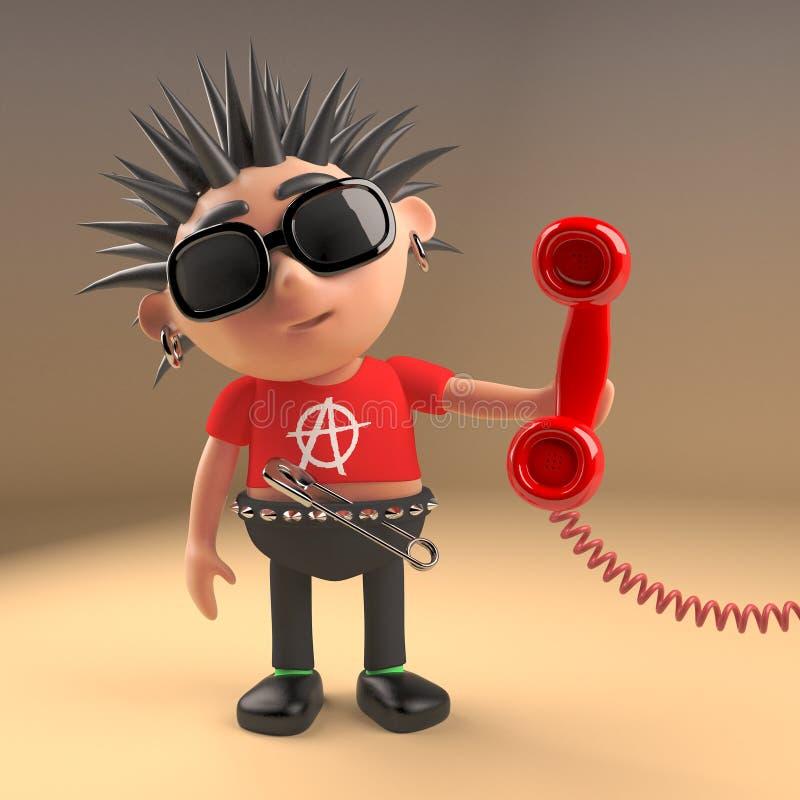 Le rocker punk bien relié répond au téléphone, l'illustration 3d illustration libre de droits