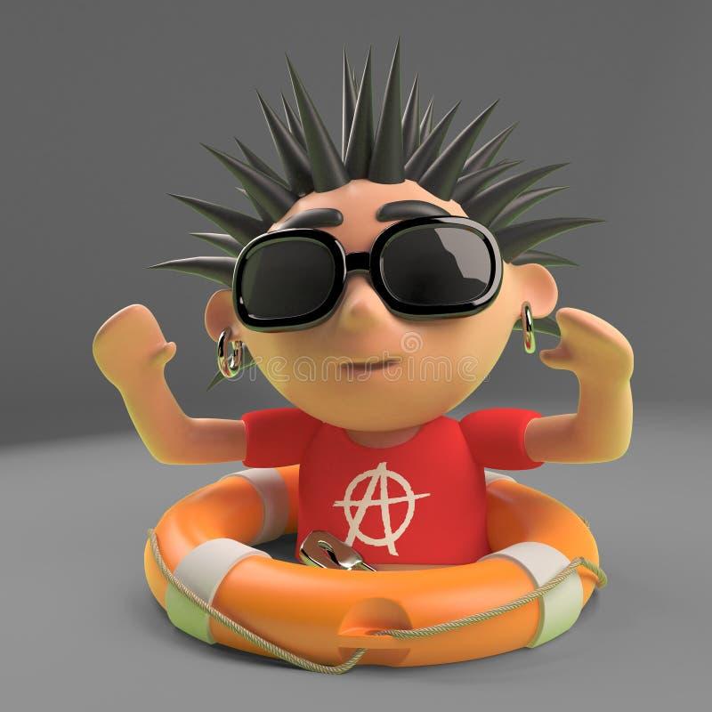 Le rocker punk chanceux a été sauvé par un conservateur de vie de flottement, l'illustration 3d illustration de vecteur