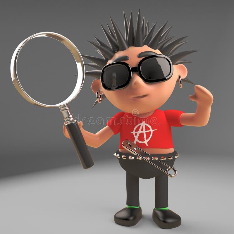 Le rocker punk curieux regarde par une loupe, l'illustration 3d illustration stock