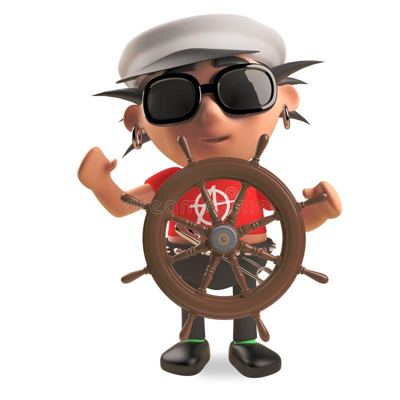 Le rocker punk de capitaine de marin avec des cheveux de spikey dirige son bateau avec un volant, l'illustration 3d illustration libre de droits