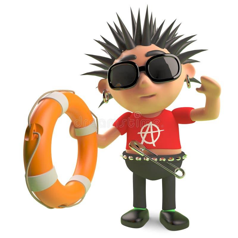 Le rocker punk en épi héroïque sauve quelqu'un avec un conservateur de vie, l'illustration 3d illustration stock