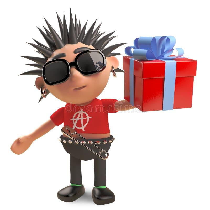 Le rocker punk généreux distribue des cadeaux et des présents, l'illustration 3d illustration de vecteur