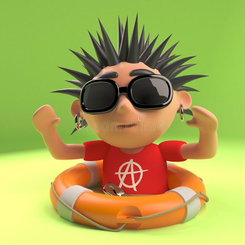 Le rocker punk méchant a été sauvé de la noyade avec un anneau de vie, l'illustration 3d illustration libre de droits
