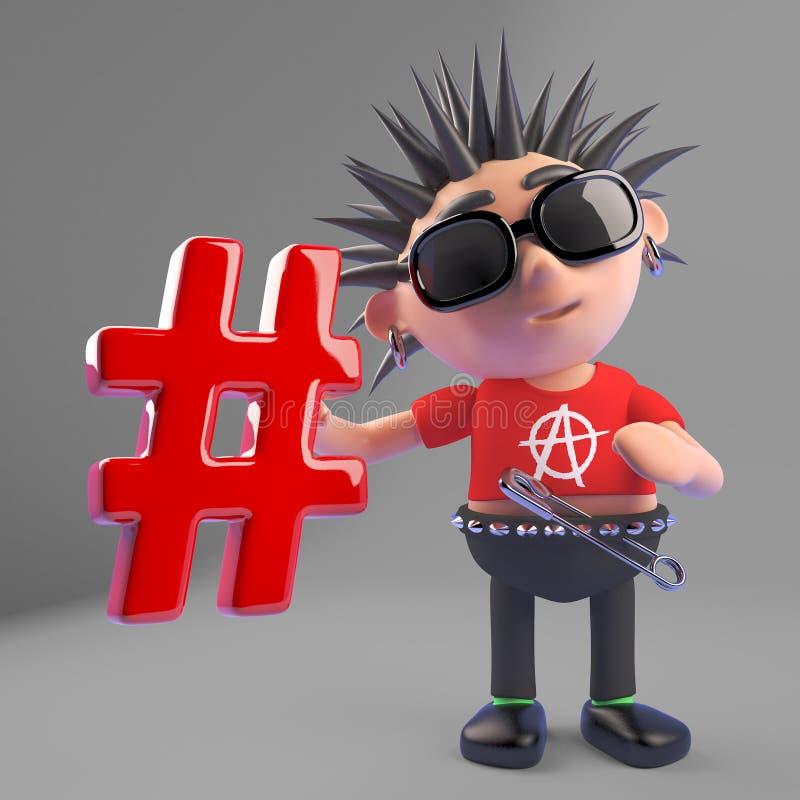 Le rocker punk méchant aime des médias sociaux et tient un hashtag pour le prouver, l'illustration 3d illustration libre de droits