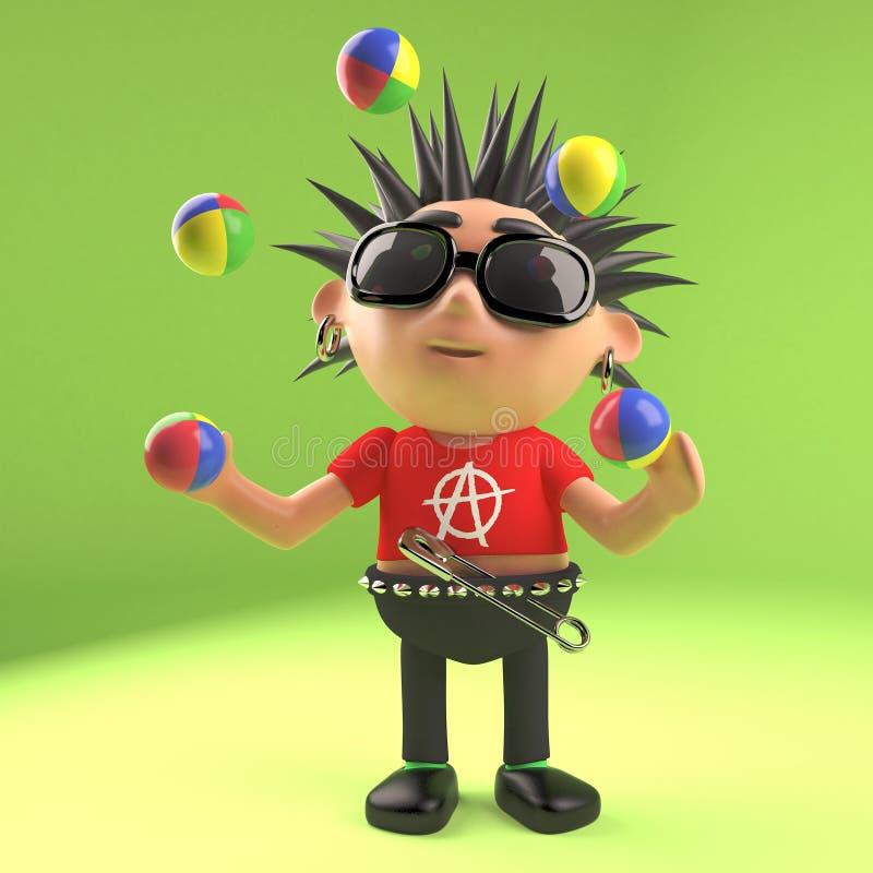 Le rocker punk méchant fait une pause et fait la jonglerie, l'illustration 3d illustration de vecteur