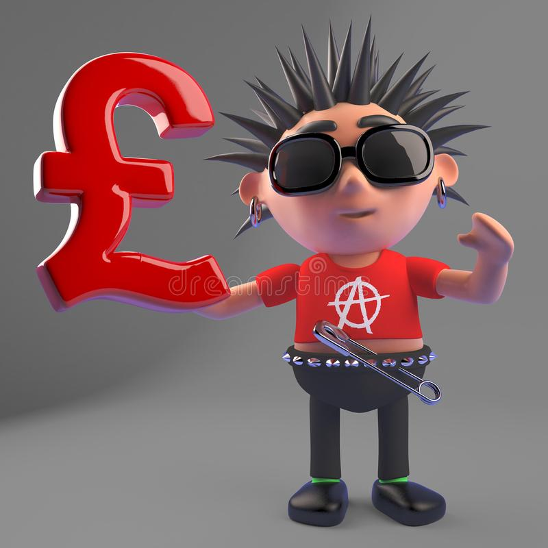Le rocker punk méchant tient le symbole monétaire BRITANNIQUE de livres sterling, l'illustration 3d illustration stock