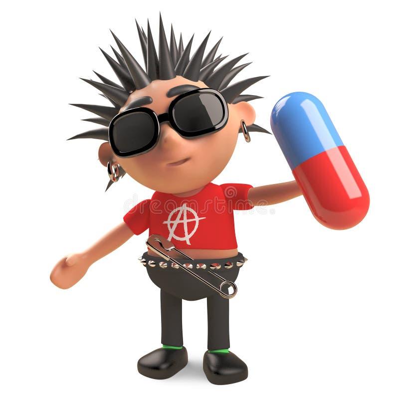 Le rocker punk pauvre aura le problème avalant cette pilule, l'illustration 3d illustration stock