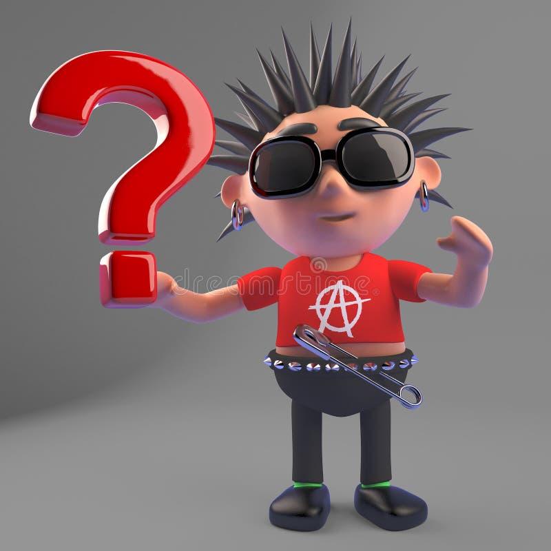 Le rocker punk putréfié a tant de questions, l'illustration 3d illustration libre de droits