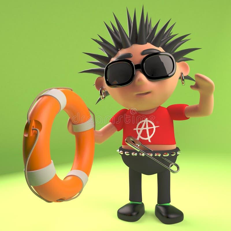 Le rocker punk utile atteint à une aide de flottabilité de conservateur de vie, l'illustration 3d illustration libre de droits