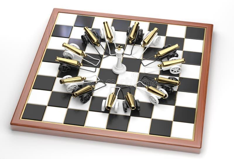 Le roi blanc dans un environnement des canons illustration libre de droits