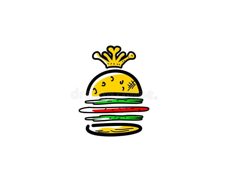 Le Roi Burger Vector Logo Design Element illustration libre de droits