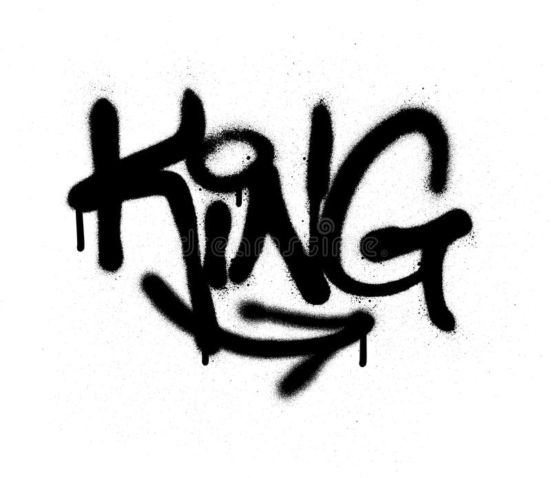Le roi d'étiquette de graffiti a pulvérisé avec la fuite dans le noir sur le blanc illustration libre de droits