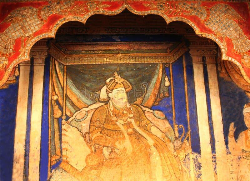 Le roi de la peinture de sarabhoji qui s'appelle la peinture de tanjore dans le hall dharbar de hall de ministère du palais de ma image libre de droits