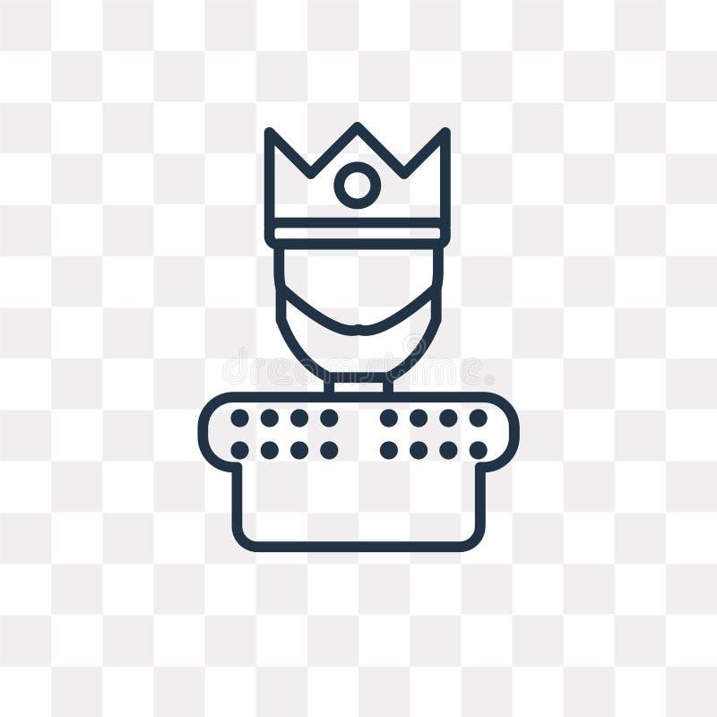 Le roi dirigent l'icône d'isolement sur le fond transparent, roi linéaire illustration de vecteur