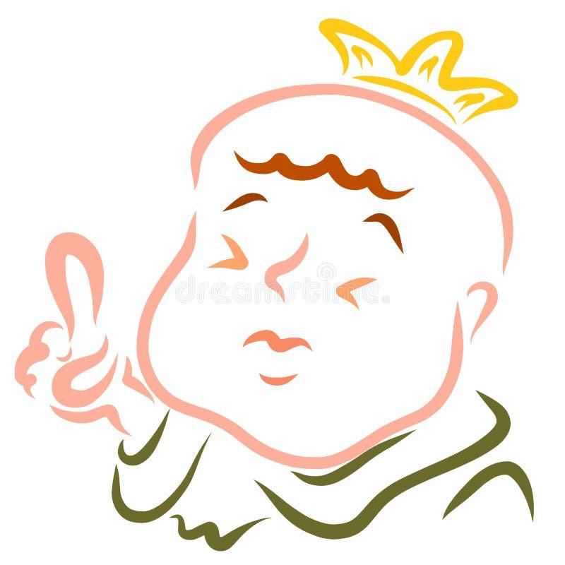 Le roi drôle commande ou explique quelque chose en soulevant un doigt  illustration de vecteur