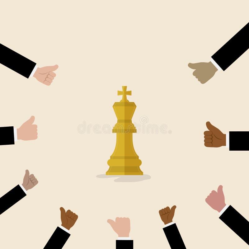 Le roi du symbole d'échecs avec avec beaucoup de pouces lèvent des mains sur le backgroun illustration stock