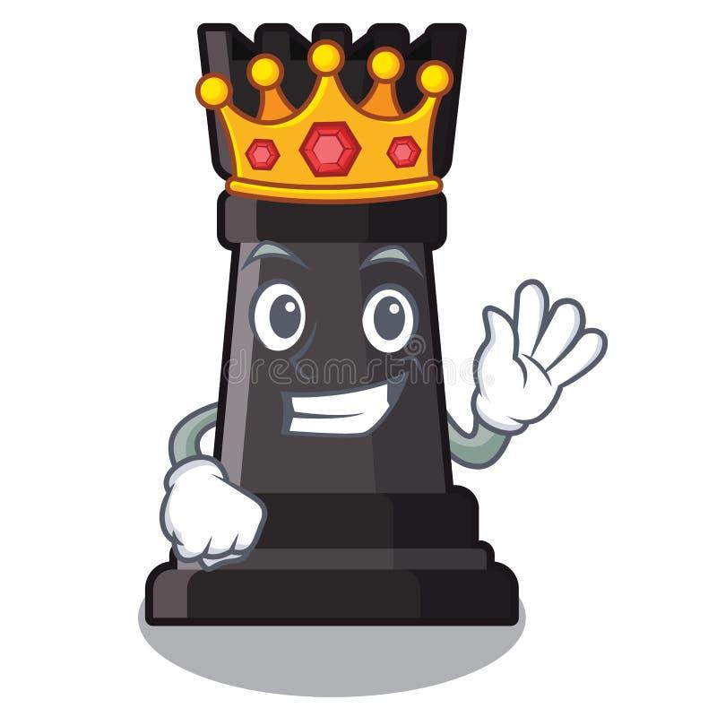 Le roi escroquent des échecs sur une chaise de bande dessinée illustration libre de droits