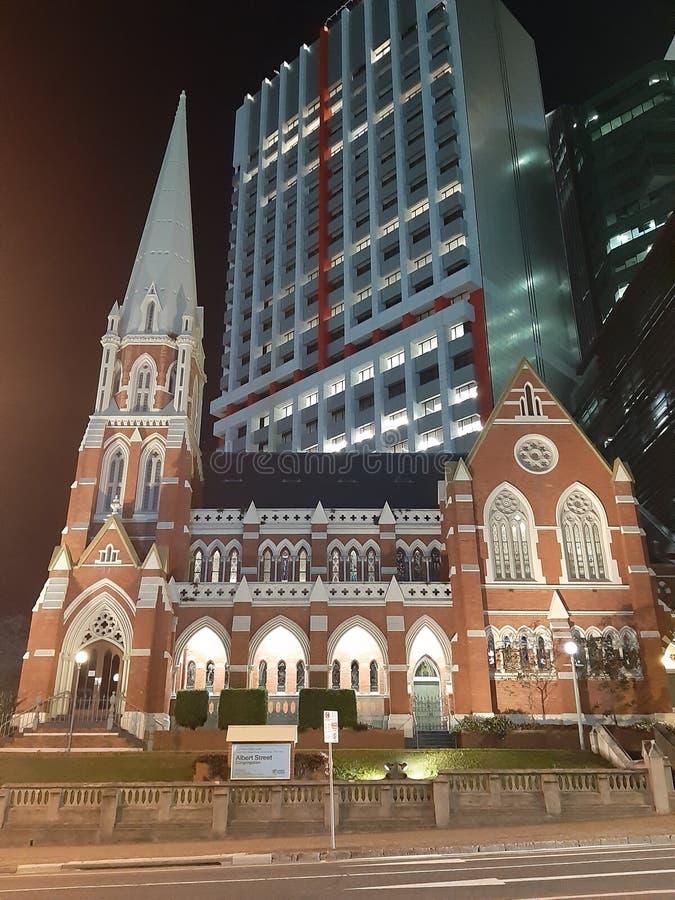 Le Roi George Square Brisbane St Albert d'église de cathédrale photographie stock libre de droits