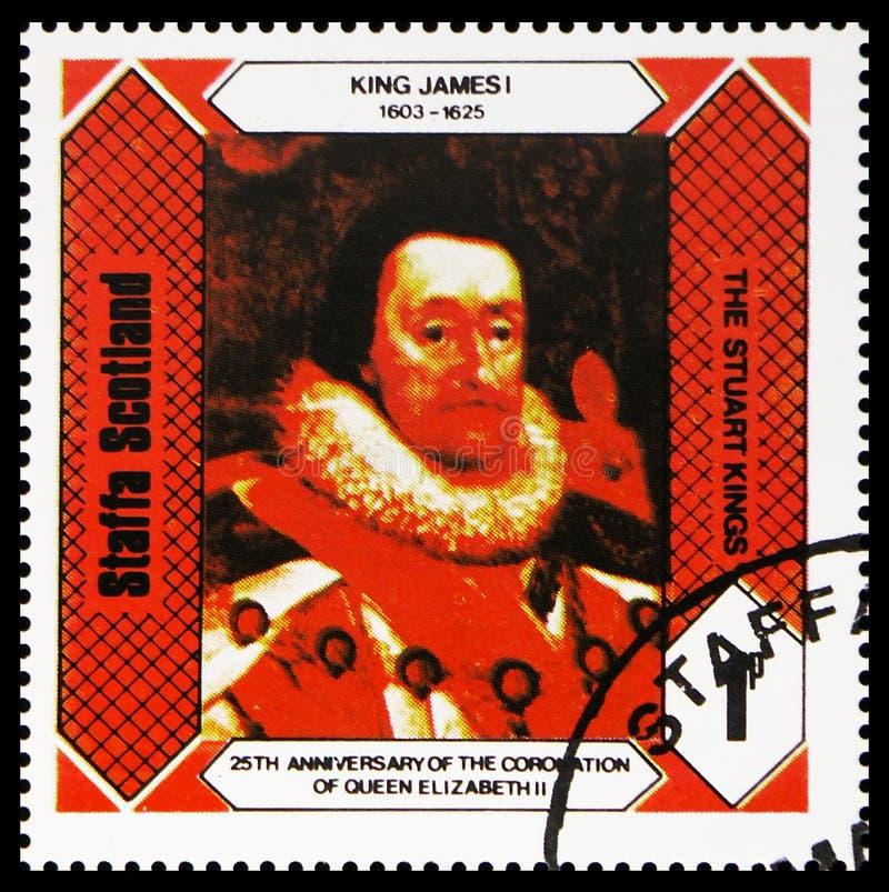 Le Roi James I, rois Stuart, 25ème anniversaire du couronnement de la Reine Elizabeth II, serie de Staffa Ecosse, vers 1978 images libres de droits