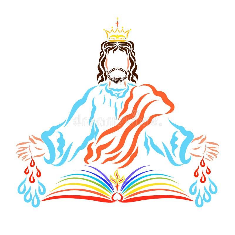 Le Roi Jesus avec un ressort curatif de ses blessures, et le livre o illustration stock