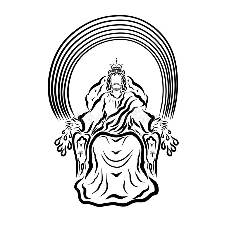 Le Roi Jesus s'asseyant sur un trône sous un arc-en-ciel, une guérison et un salut par ses blessures illustration stock