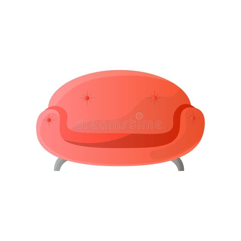 Le rond rouge moderne a formé le sofa avec le calibre en acier de jambes images libres de droits