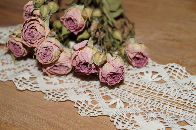 Le rose appassiscono e merlettano fotografia stock