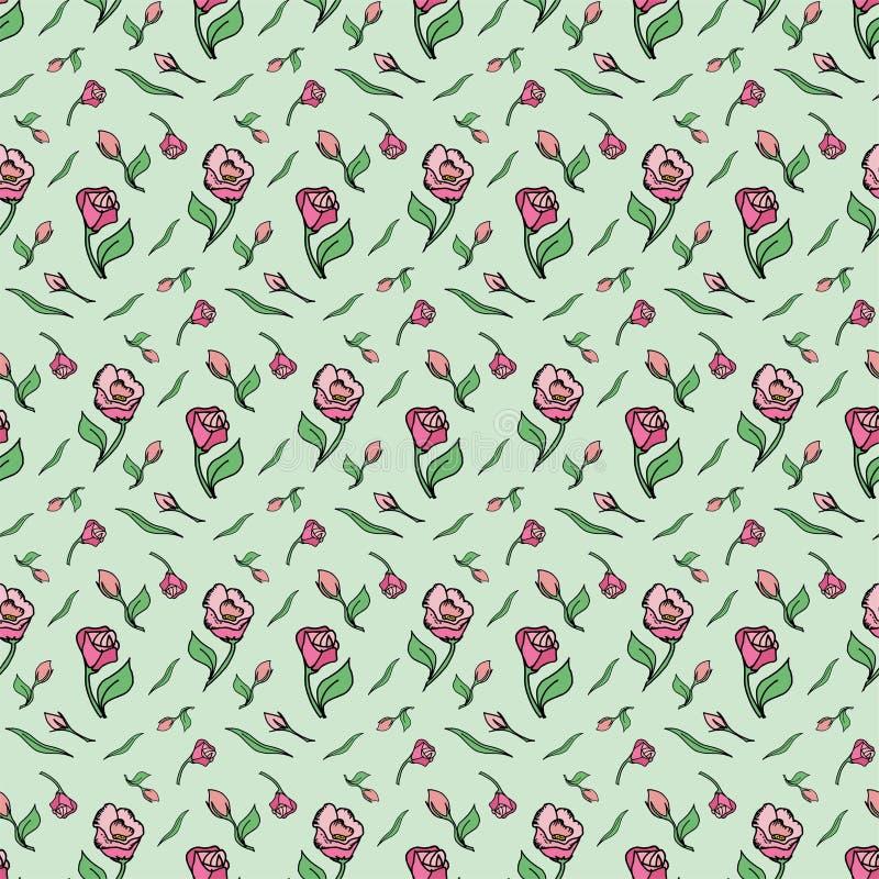 Le rose de fleur de modèle a monté ressort vert de fond photos libres de droits