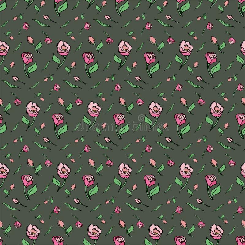 Le rose de fleur de modèle a monté ressort vert de fond photographie stock