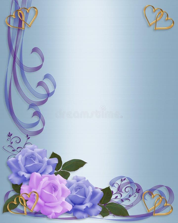 Le rose delimitano invito di cerimonia nuziale della lavanda e dell'azzurro royalty illustrazione gratis