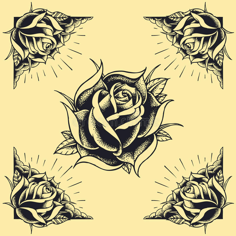 Le rose e la progettazione di stile del tatuaggio della pagina hanno messo 02 illustrazione vettoriale