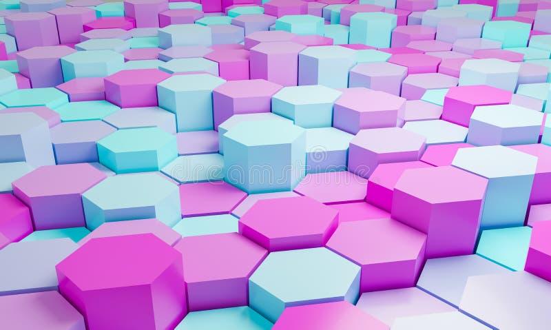 Le rose et le fond abstrait d'hexagones de turquoise modèlent 3D le rendu - l'illustration 3D illustration libre de droits