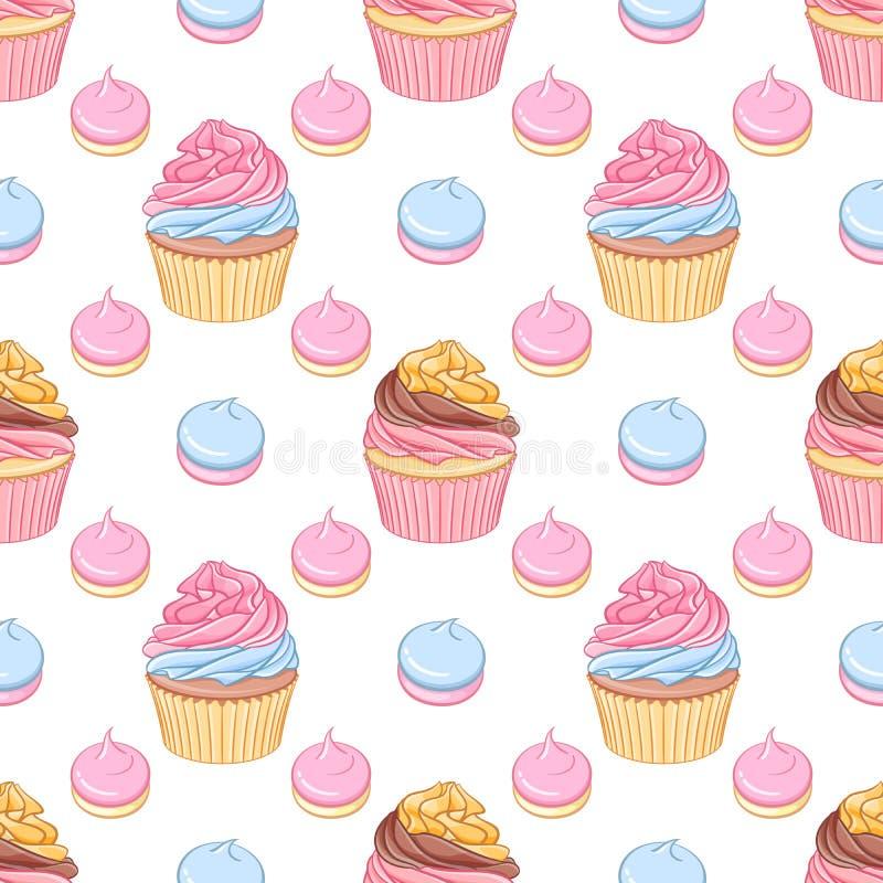 Download Le Rose Et Les Petits Gâteaux Et Les Meringues Crèmes De Chocolat Dirigent Le Modèle Sans Couture Illustration de Vecteur - Illustration du nourriture, sensible: 76080932