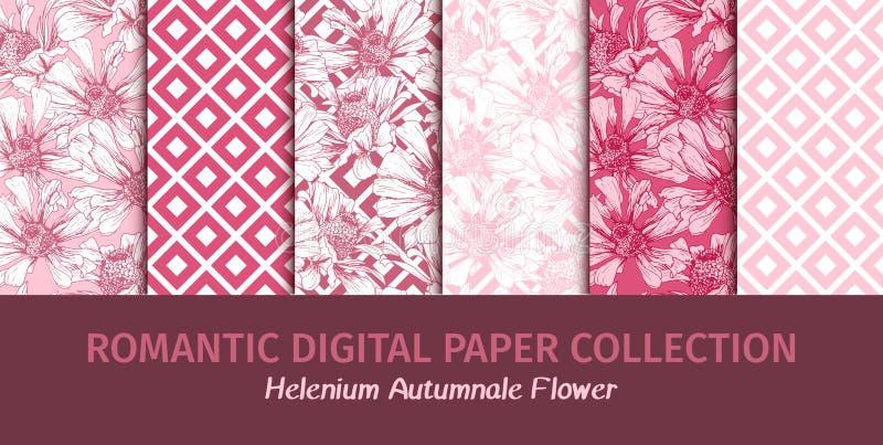 Le rose fleurit des papiers de Digital pour le jour de valentines romantique illustration de vecteur