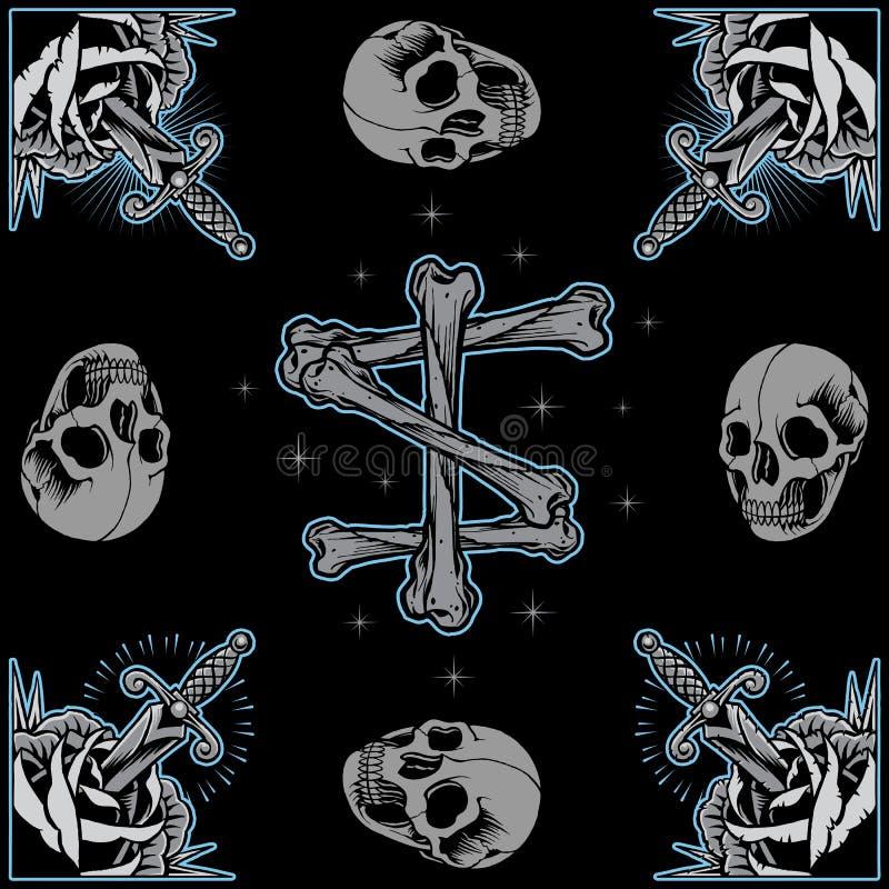 Le rose incorniciano, incrocio delle ossa e del cranio royalty illustrazione gratis