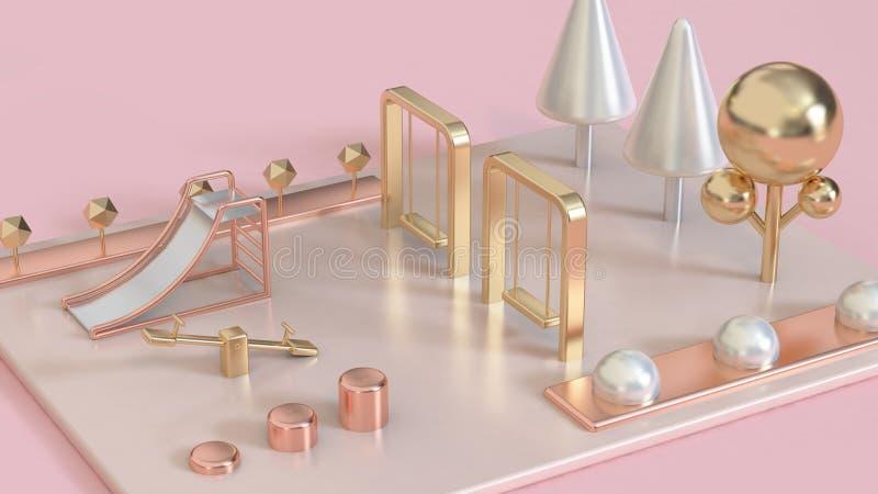 le rose métallique, a monté l'or, terrain de jeu abstrait blanc de la perle 3d d'or avec les arbres 3d rendre photos stock