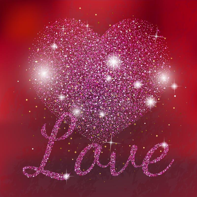 Le rose miroite coeur sur le fond rouge Coeur rose de scintillement L'amour miroite texte illustration stock