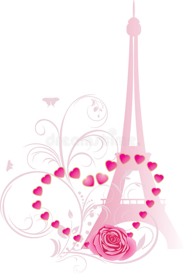 Le rose a monté avec le coeur et le Tour Eiffel illustration libre de droits