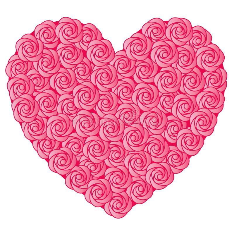 Le rose a monté coeur de valentine illustration libre de droits