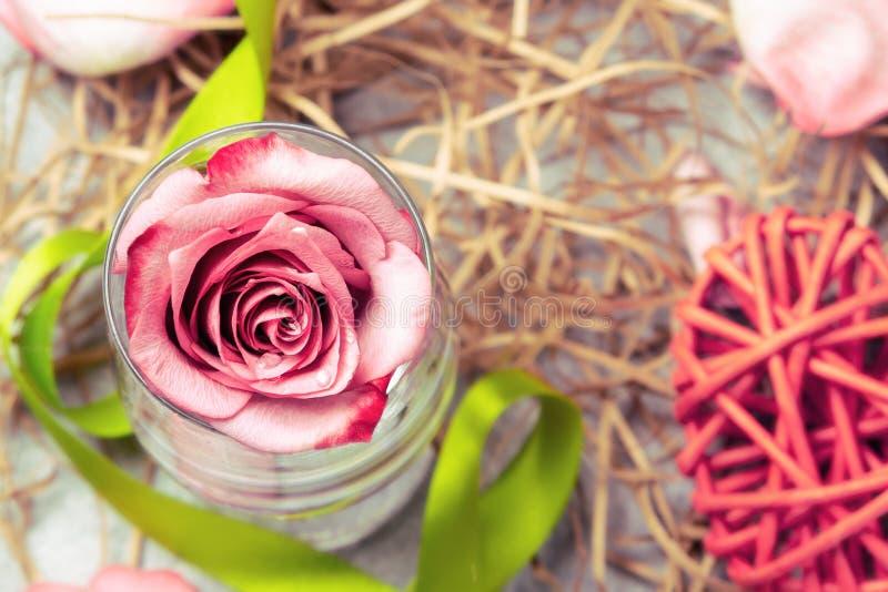 Le rose a monté dans un verre avec de l'eau et des décorations sur la table images libres de droits