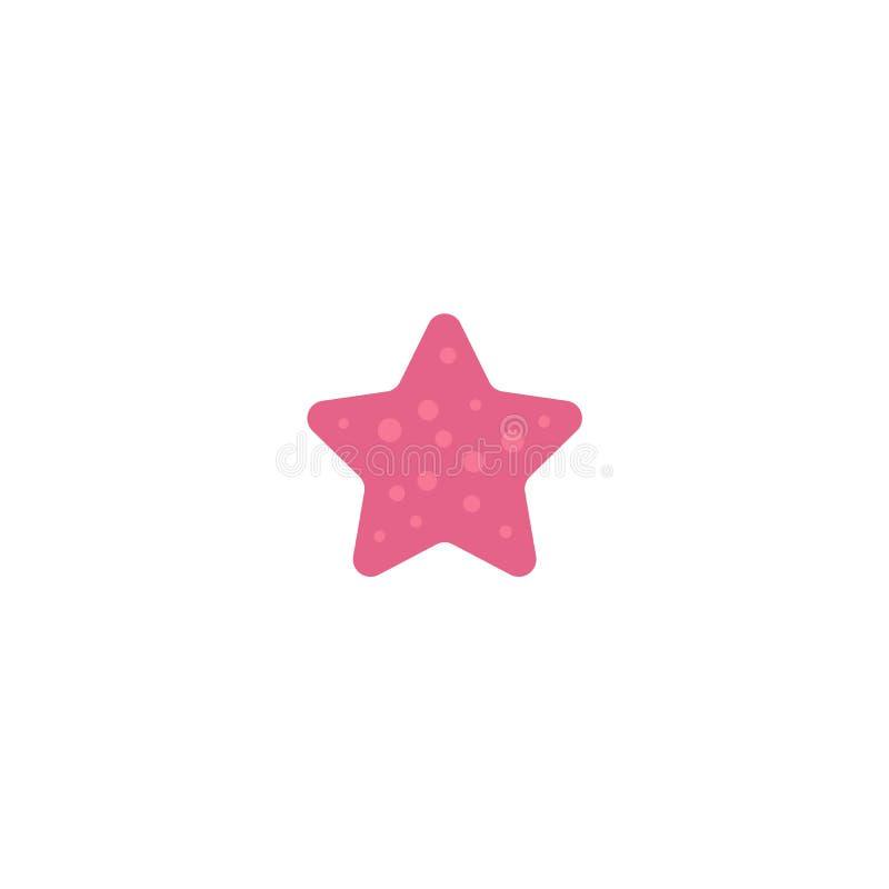 Le rose plat de bande dessinée a coloré des étoiles de mer, poissons d'étoile illustration stock