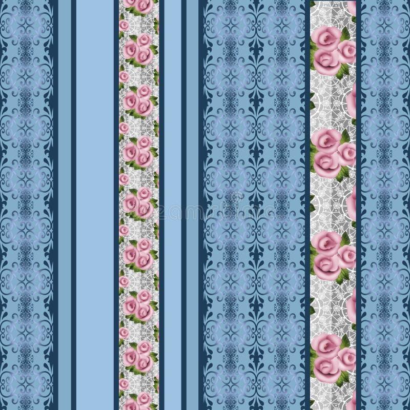Le rose rosa floreali senza cuciture modellano il retro fondo a strisce illustrazione di stock
