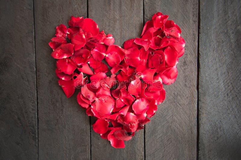 Le rose rosse del petalo hanno modellato come un cuore su fondo di legno, fotografia stock